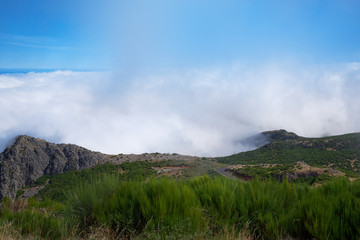 View over the clouds from the mountain Pico do Arieiro on the Portuguese island of Madeira