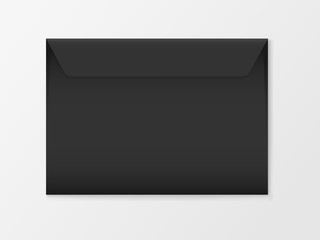 Vector mockup of Black c6 paper envelope isolated on white background. Dark horizontal postage closed cover template. 3d illustration for your corporate identity design