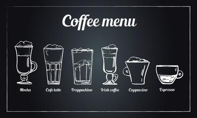 Coffee menu set. Hand drawn vector sketch of different types of coffee drinks on blackboard background. Cappuccino, espresso, irish, latte, mocha, frappuchino