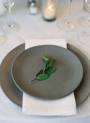 Close up of a place setting at a wedding reception