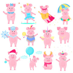 Cute piggy in different costumes. Superhero, Princess, Santa Claus. Funny animal. The symbol of the Chinese New Year. Pig cartoon character