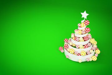 Abstract festive spiral christmas tree made of white ribbon with dotted and striped xmas balls. 3d render illustration.