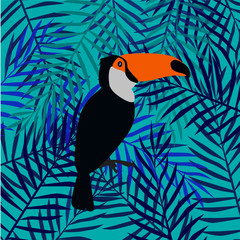 Floral background with tropical  leaves and toucans. Vector pattern.