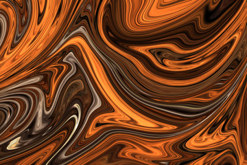 Liquify Abstract Pattern With Brown, White And Grey Graphics Color Art Form. Digital Background With Liquifying Flow.