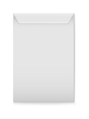 Vector mockup of white a4 paper envelope isolated on white background. Gray vertical postage closed cover template. 3d illustration for your corporate identity design