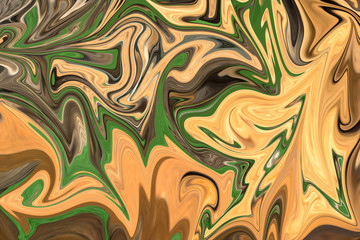 Liquify Abstract Pattern With Yellow, Brown And Green Graphics Color Art Form. Digital Background With Liquifying Flow.