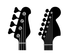 Electric and Bass Guitar Headstock Silhouettes isolated on white background.