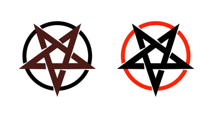 Satan star, pentagram symbol of satanism, Mystical Sign round form - Vector emblem of spiritual cult.