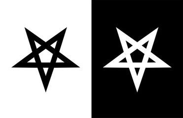 Vector emblem of Satan Pentagram Star on white and black background.