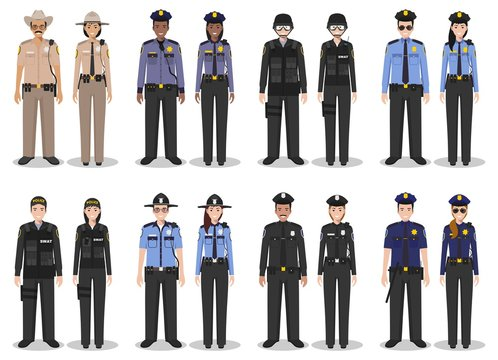 Police people concept. Set of different detailed illustration of SWAT officer, policeman, policewoman and sheriff in flat style on white background. Vector illustration.