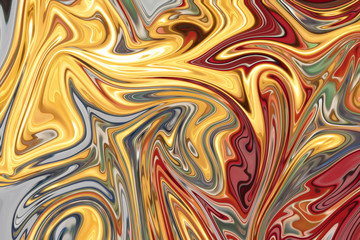 Liquify Abstract Pattern With Red, Yellow, Green And Grey Graphics Color Art Form. Digital Background With Liquifying Flow.