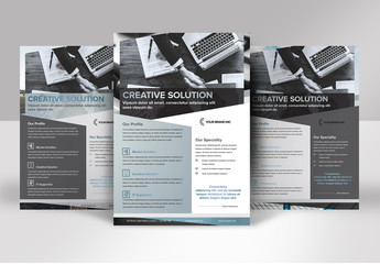 Business Flyer Layout with Blue and Gray accents