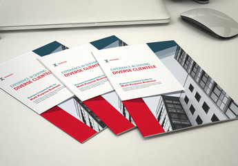 Business Brochure Layout with Red and Dark Blue Accents
