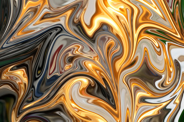 Liquify Abstract Pattern With Red, Yellow, Green, Black And Grey Graphics Color Art Form. Digital Background With Liquifying Flow.