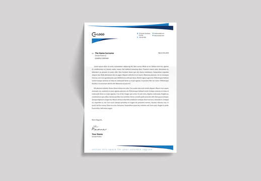 Letterhead Layout with Blue Curves