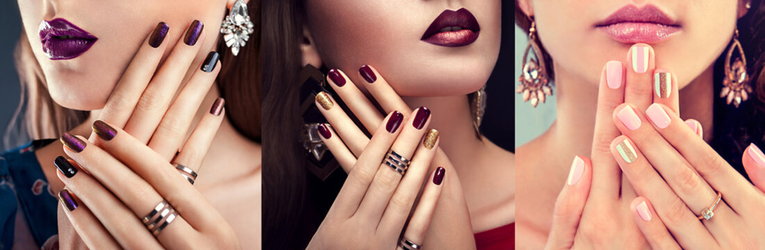 Beauty fashion model with different make-up and nail art design wearing jewelry. Set of manicure. Three stylish looks