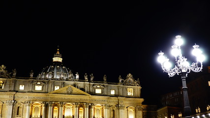 Rome - November 04, 2018: Long night exposure of St. Peter's Square with the dome and the colonnade, illuminated