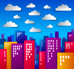 City houses buildings paper cut cartoon kids game style vector illustration, modern minimal design of cute cityscape, urban life, clouds in the sky