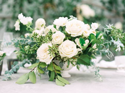 White roses at a wedding ceremony
