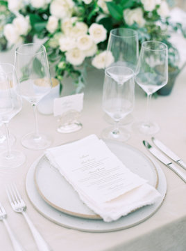 Place setting at a wedding reception