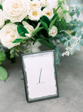 Table number sign at wedding reception