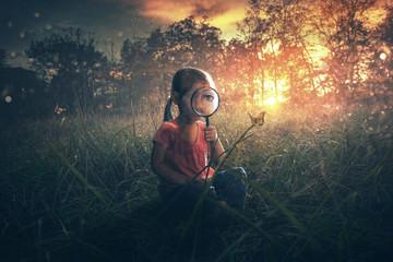 Little Girl watching Butterflies