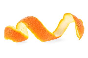 Fototapeta Orange peel against white background obraz