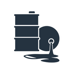barrel leak isolated icon on white background, oil industry