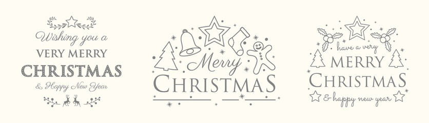 Christmas set with decorations and greetings. Vector.