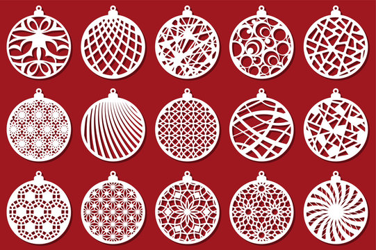 Set Modern Christmas ball. New Year's Toy for laser cutting. Vector illustration.