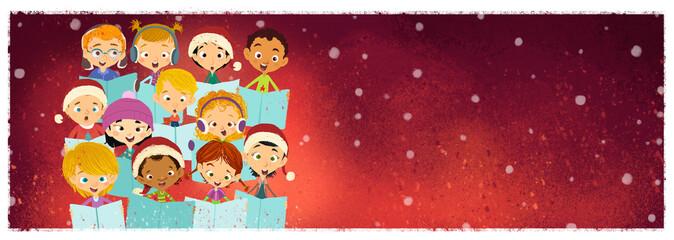 niños cantando en coro en navidad