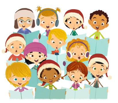 niños felices cantando en coro navideño