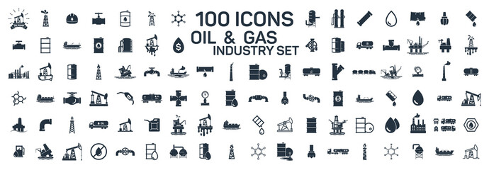 200 oil and gas industry isolated icons on white background Wall mural