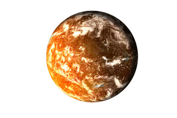Orange planet with burning magmatic surface and gas atmosphere in the shadow isolated. Science fiction. Elements of this image were furnished by NASA.