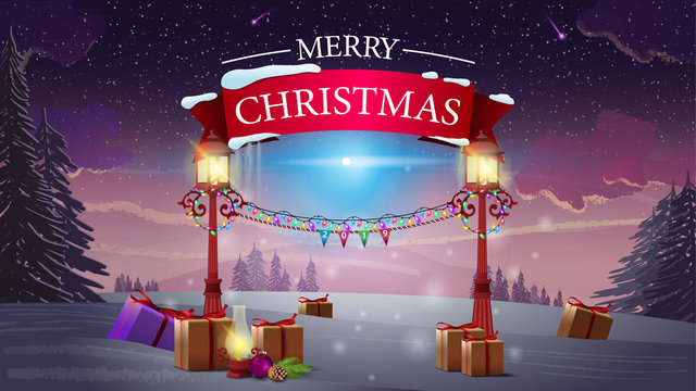 Merry Christmas - logo with red ribbon and old lanterns on winter forest background