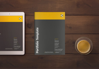 Company Portfolio Layout with Yellow Accents
