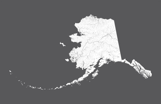 U.S. states - map of Alaska. Rivers and lakes are shown. Look my other images of cartographic series - they are all very detailed and carefully drawn by hand WITH RIVERS AND LAKES.