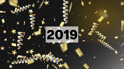 2019 New Year Confetti Realistic Falling Golden Tinsel.  Horizontal Stars Streamers Background. Cool Sparkling Christmas, New Year, Birthday Party Holiday Texture. New Year Confetti Golden Tinsel