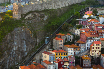 View of the Old houses in historical centre of Porto, Portugal.