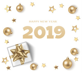 Happy New Year 2019 text. Christmas design template. Holiday white background with golden balls, present and stars