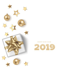 Happy New Year 2019. Christmas design template. Holiday white background with golden balls, present and stars