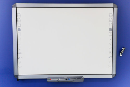 Smart board in the classroom. Interactive board.