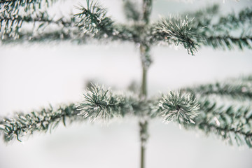Detail of artificial christmas tree leaves