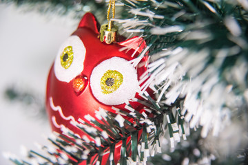 Owl ornament on Christmas tree