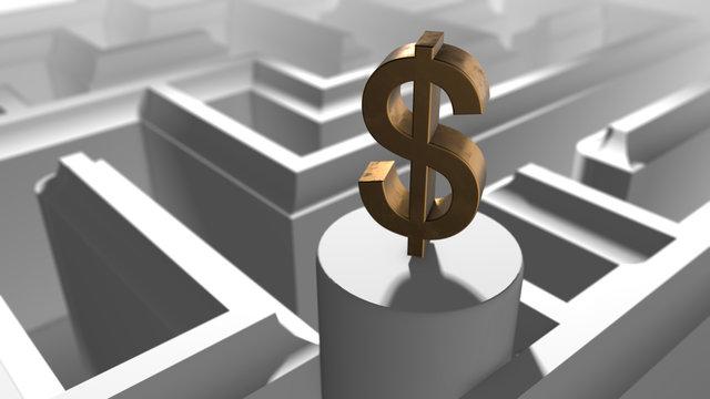 Conceptual financial wealth money maze to solve regulation 3d render