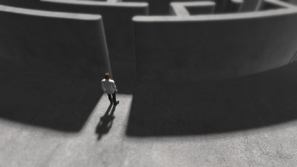 Depression sadness, grief and post traumatic stress disorder maze abstract