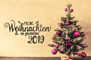 Tree With Purple Balls, Calligraphy Glueckliches 2019 Means Happy 2019