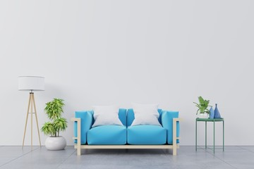 Modern living room interior with blue sofa and green plants,lamp,table on white wall background. 3d rendering.