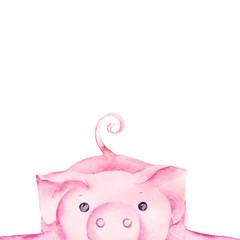 cute pig character card
