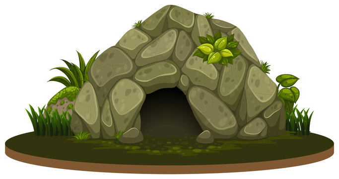 A stone cave on white background